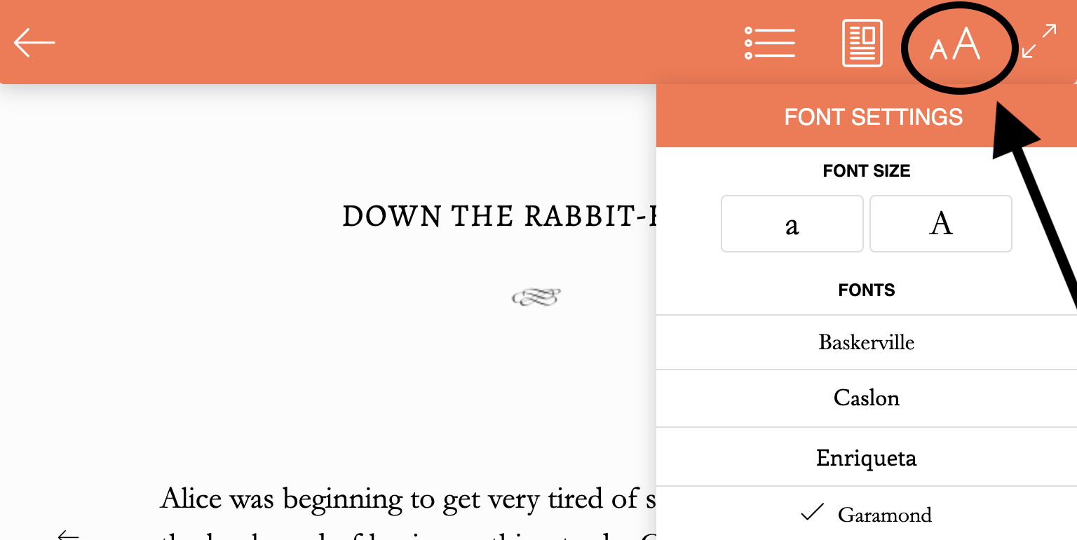 Menu in the BookFunnel cloud reader where you can Click aA to change the font selection or size