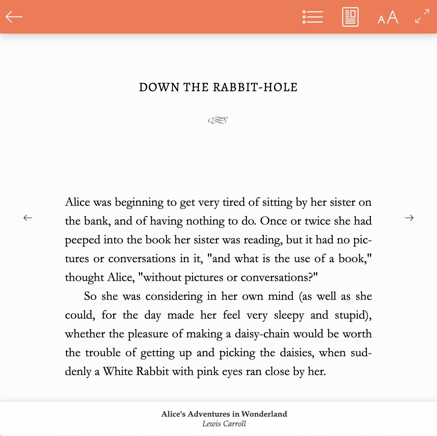 Image of Alice's Adventures in Wonderland opened in the BookFunnel cloud reader on a computer. Click the back button to close the reader and return to the library view