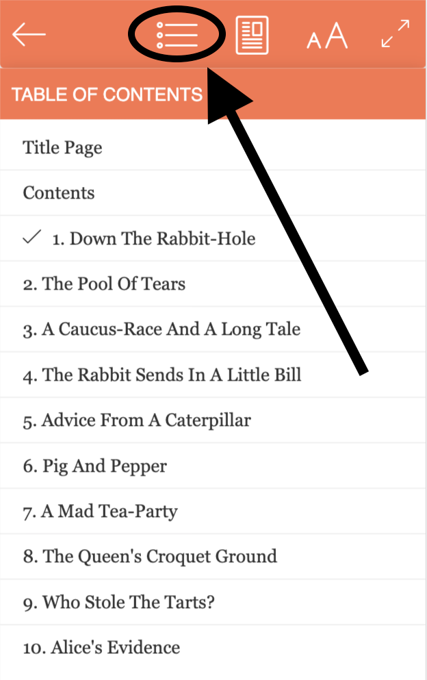 BookFunnel cloud reader open on a mobile where you can tap the Table of Contents button to view the chapters in the book.