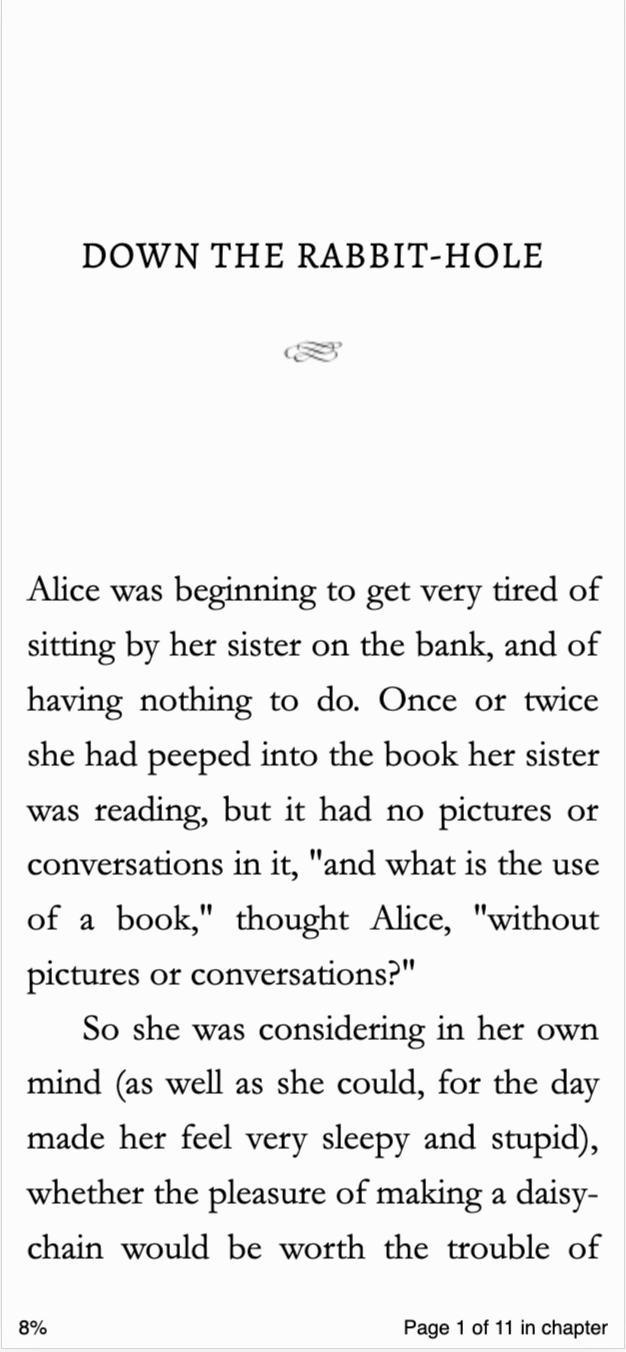 Image of Alice's Adventures in Wonderland opened in the BookFunnel cloud reader.