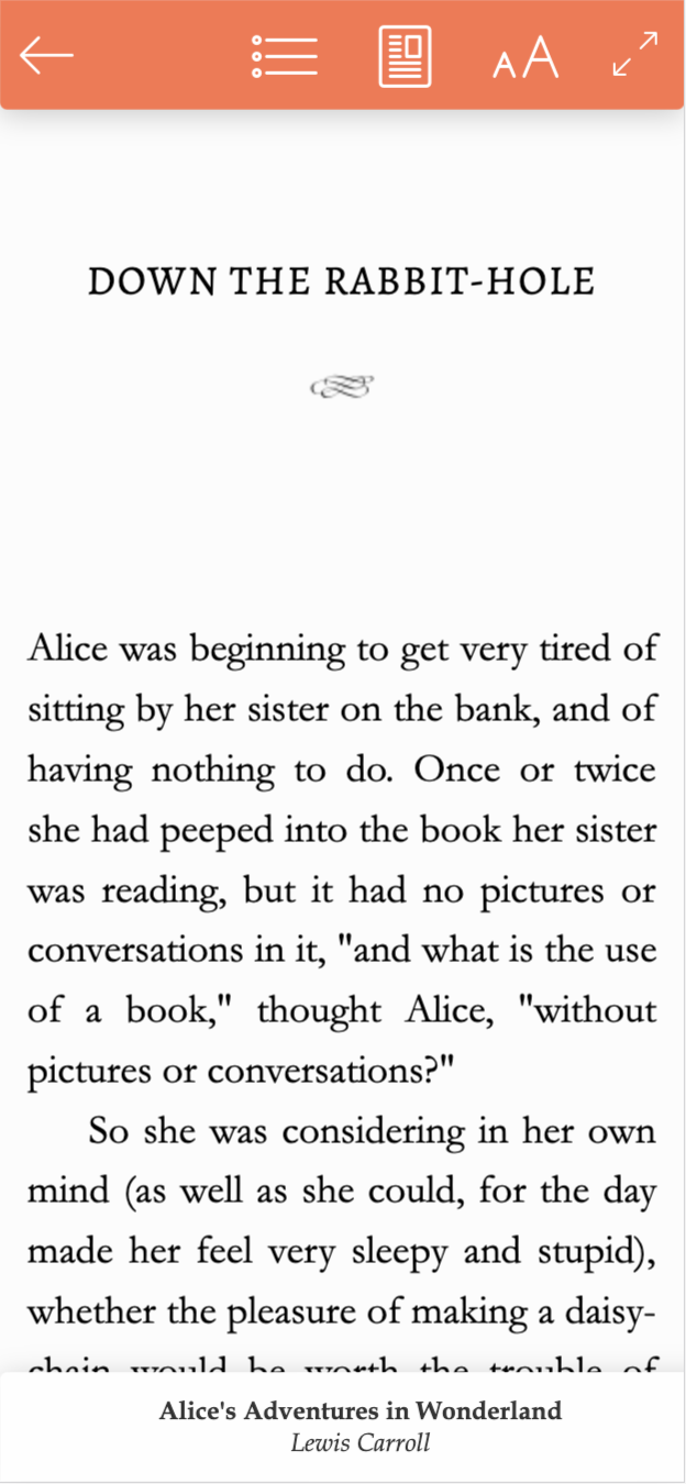example image of what a reader will see when they open a book in their BookFunnel Cloud Library: Alice's Adventures in Wonderland opened in the BookFunnel cloud reader with the menus opened. Open the menu by tapping the middle of the screen.