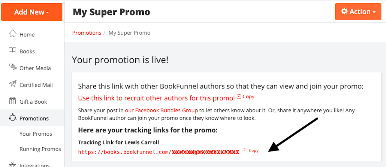 Screenshot of the author dashboard showing the tracking link at the top of the promo. Only visible after you have joined a promo.