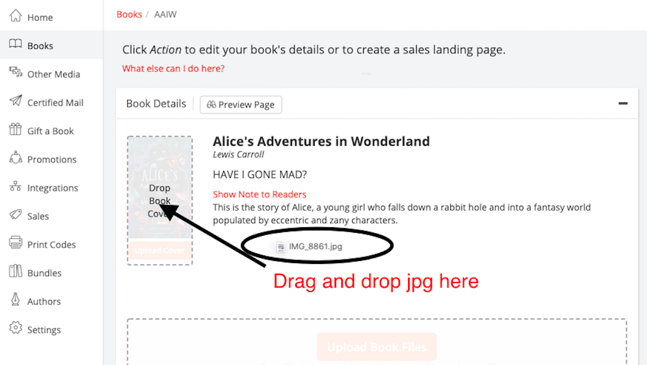 Dashboard screenshot showing the drag-and-drop field as a JPG book cover is being added to the book details.
