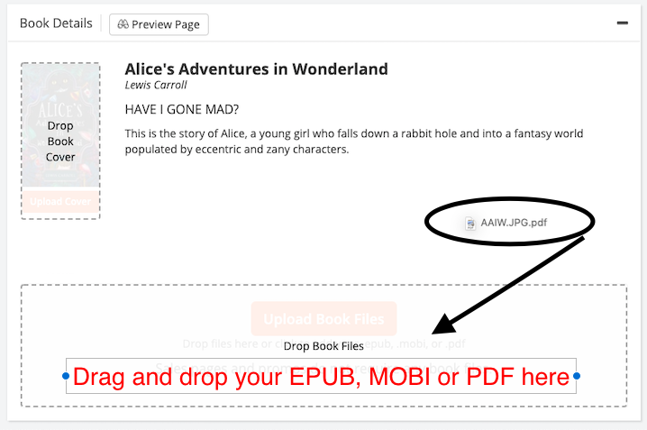 Dashboard screenshot showing the drag-and-drop field as a MOBI, EPUB, and/or PDF book files is being added to the book.