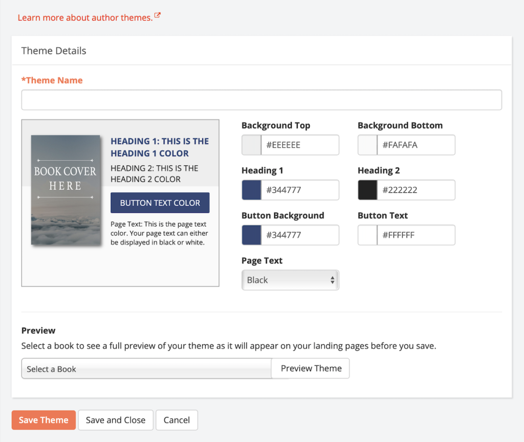 Screenshot of BookFunnel dashboard showing new theme form.